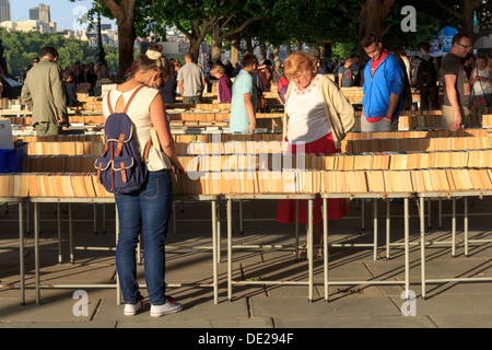 Southbank Centre's Book Market under Waterloo Bridge, London, UK - Stock Photo