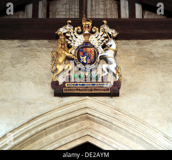 Royal Arms, 1660s, King Charles 2nd, Kings Lynn, St. Margarets Church Norfolk England UK lion and unicorn - Stock Photo