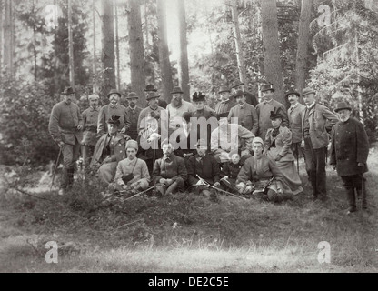 Tsar Alexander III with family and friends on a hunt in the Bialowieza Forest, Russia, 1894. - Stock Photo