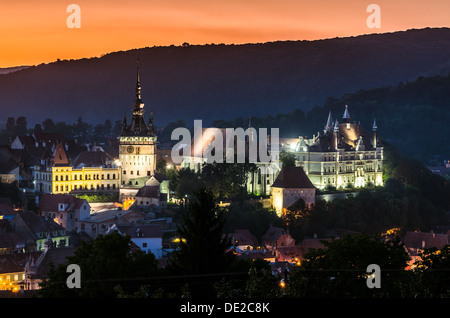 Night view of Sighisoara, Romania after the sunset - Stock Photo