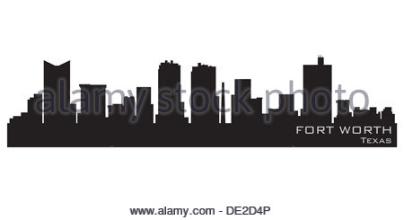 fort worth texas skyline detailed vector silhouette stock photo