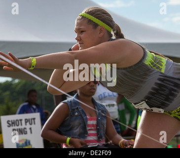 Ypsilanti, Michigan - Shot Put competition during the Track and field events at the AAU Junior Olympic Games. - Stock Photo