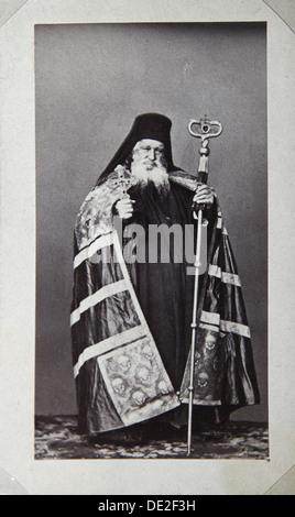 Makarios, Archbishop of the St Panteleimon Monastery on Mount Athos, Greece, 1870s. Artist: Unknown - Stock Photo