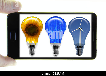 Mobile phone with a photo of light bulbs, symbolic image for renewable energy - Stock Photo