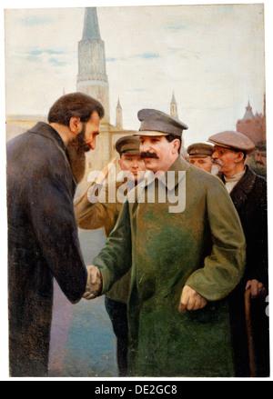 'Josef Stalin and the geophysicist Otto Y Schmidt', 1930s. Artist: Jakov Kalinichenko - Stock Photo