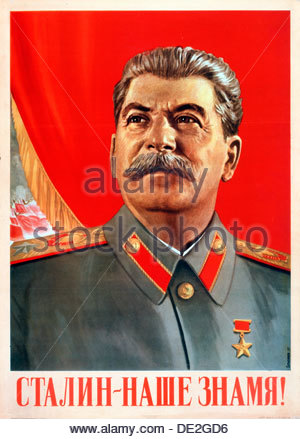 'Stalin is our Banner!', poster, 1948. Artist: Vasili Suryaninov - Stock Photo