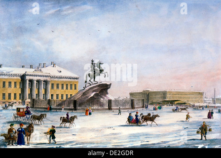 Monument of Peter the Great in the Senate Square of St Petersburg, Russia, winter, 1822. Artist: Anon - Stock Photo