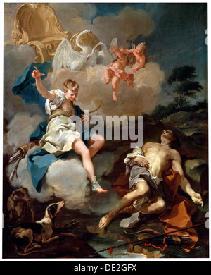 'Diana and Endymion', 1723. Artist: Giovanni Battista Pittoni the Younger - Stock Photo