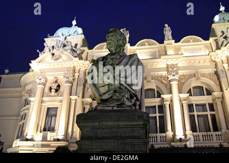 The statue of Aleksander Fredro (June 20, 1793 – July 15, 1876) was a Polish poet, playwright and author. - Stock Photo