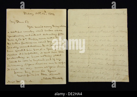 A pair of letters hand written by Lord Horatio Nelson are displayed for sale at a Derbyshire  auction house, UK - Stock Photo