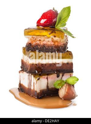 Pyramid of three jelly cakes isolated on white background - Stock Photo