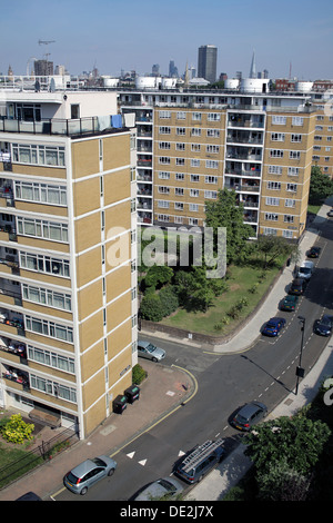Looking down on part of the Churchill Gardens Estate, Pimlico, London - multi-storey housing blocks with green space - Stock Photo
