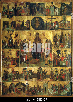 'The Glorification of the Virgin', (Akathist Hymn to the Most Holy Theotokos), 14th century. Artist: Unknown - Stock Photo