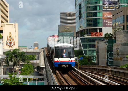 BTS Skytrain, Bangkok Mass Transit System, S-Bahn between skyscrapers, Bangkok, Thailand, Southeast Asia, Asia - Stock Photo