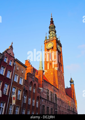City Hall of the main city of Gdansk, located on Dlugi Targ - Long Market Street, Poland. - Stock Photo