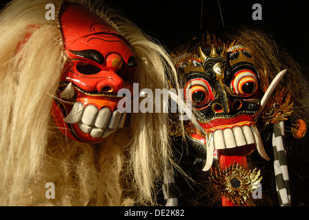 Arts and culture, Barong and Rangda masks, terrible mystical mythical creatures, Ubud, Bali, Indonesia, Southeast - Stock Photo