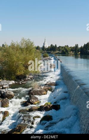 City beside a river, waterfall, Snake River, Idaho Falls, Idaho, Western United States, United States of America, - Stock Photo