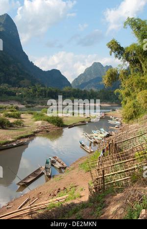River landscape, boats on the shore, Nam Ou river, Muang Ngoi Kao, Luang Prabang province, Laos, Southeast Asia, Asia