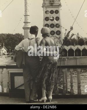 Couple at Coney Island; Walker Evans, American, 1903 - 1975; 1928; Gelatin silver print; Image: 18.6 x 15.4 cm (7 - Stock Photo