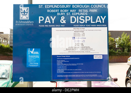 Pay & Display car park sign in the UK - Stock Photo