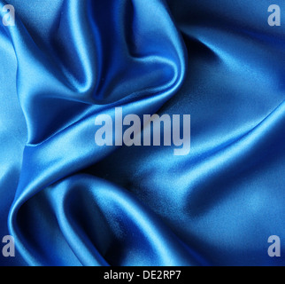 Smooth elegant blue silk can use as background - Stock Photo