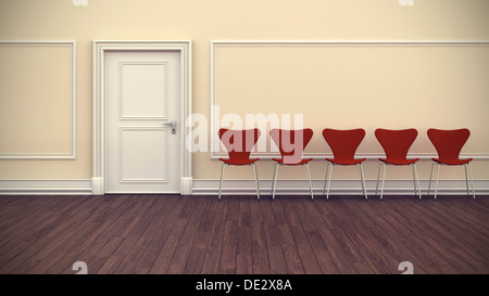 Room, waiting room, flat, apartment, with stucco and chairs in a row, 3D illustration - Stock Photo