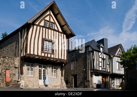 Old Houses in Fougeres, Brittany, France - Stock Photo