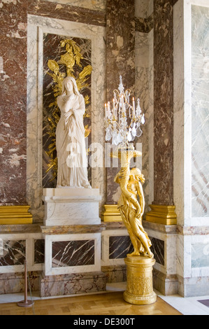 Statues in the Hall of Mirrors, Palais de Versailles, Paris, France - Stock Photo