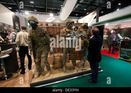 London, UK. 10th Sep, 2013.  the world's biggest arms fair DSEI which brings together 1500 defence exhibitors and - Stock Photo