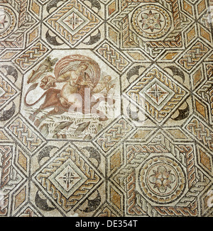 Mosaic depicting the myth of the 'abduction of Europa'. - Stock Photo