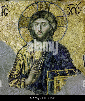 This mosaic of the enthroned Christ is in the South Gallery of the Hagia Sophia, Istanbul. - Stock Photo
