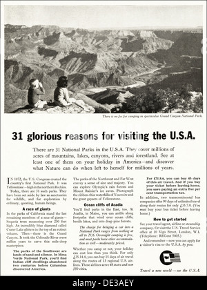 Advertisement for tourism in U.S.A. in English magazine advert circa 1964 - Stock Photo