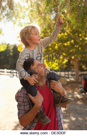 Father carrying son on shoulders - Stock Photo