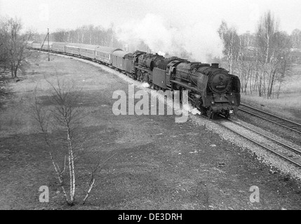 Berlin, GDR, with class 03 steam locomotive 01 2207 in double traction - Stock Photo