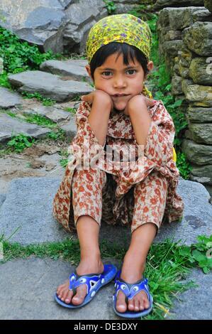 Little girl in the Old Manali village. Manali, Himachal Pradesh, India - Stock Photo