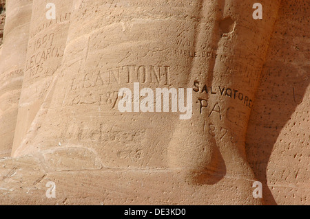 Abu Simbel, built  as a lasting monument to Ramses II and his wife Queen Nefertari and to commemorate his victory - Stock Photo