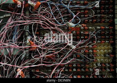 Switch Box is full of cables - Stock Photo