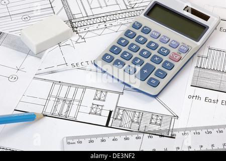 House plans with ruler pen and calculator stockfoto for House plan calculator