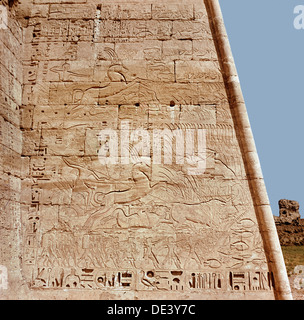 Relief from the temple of Ramesses III at Medinet Habu depicting two panels with hunting scenes where the king is - Stock Photo