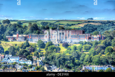 View of Dartmouth Naval College Devon and houses and trees on the hillside like a painting in HDR - Stock Photo