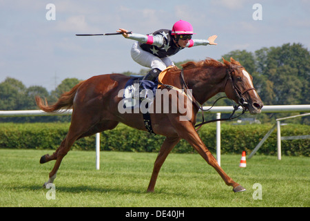 Iffezheim Germany Jockey Spreads Over On His Horse In The Superior Finish Out