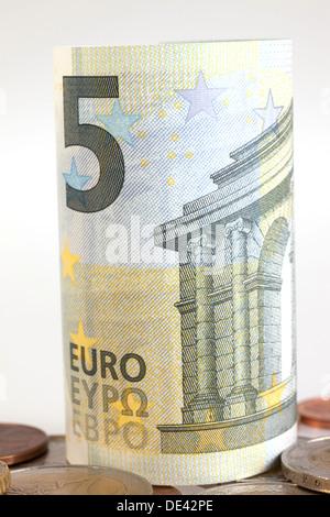 Berlin, Germany, 5 euro bill and Euromuenzen Stock Photo