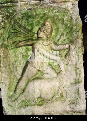 A relief of Mithras slaying the bull, the first of living creatures from whose blood, corn and all other forms of - Stock Photo