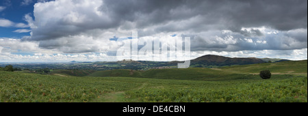 Panoramic view of The Shropshire Hills from the slopes of Long Mynd - Stock Photo