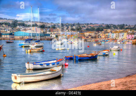 Boats on Teign river Teignmouth Devon with blue sky, English coastal scene in HDR - Stock Photo