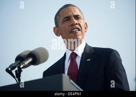 Arlington, Virginia, USA. 11th Sep, 2013. United States President Barack Obama delivers remarks during a remembrance - Stock Photo