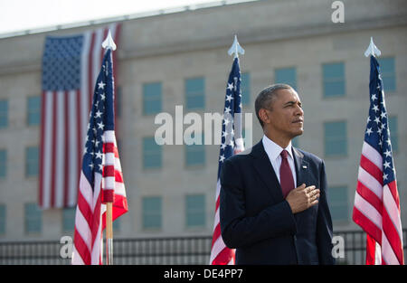 Arlington, Virginia, USA. 11th Sep, 2013. United States President Barack Obama stands during a remembrance ceremony - Stock Photo