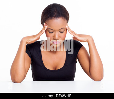young black woman having headache isolated on white - Stock Photo