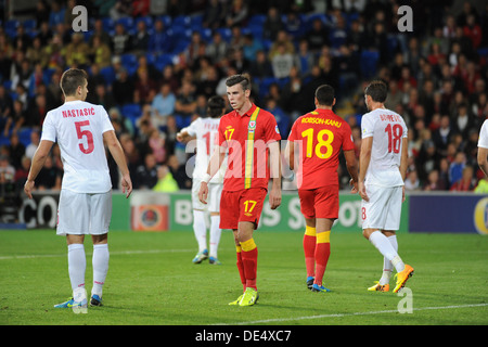 Gareth Bale turning out for his country - Wales as they lost to Serbia in the World Cup qualifying match at Cardiff - Stock Photo