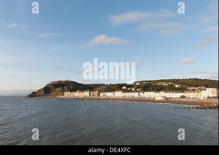 Aberystwyth seafront promenade Constitution Hill with its  funicular railway in the background against blue skyline